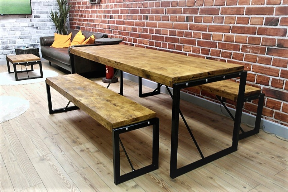 Industrial Furniture. Industrial Style Steel U0026 Reclaimed Wood Dining Set    Table U0026 Two Benches