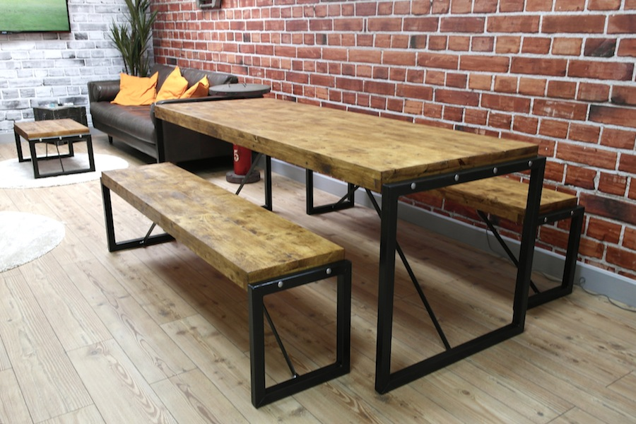 Industrial Dining Set with Steel Frames and Reclaimed Wood