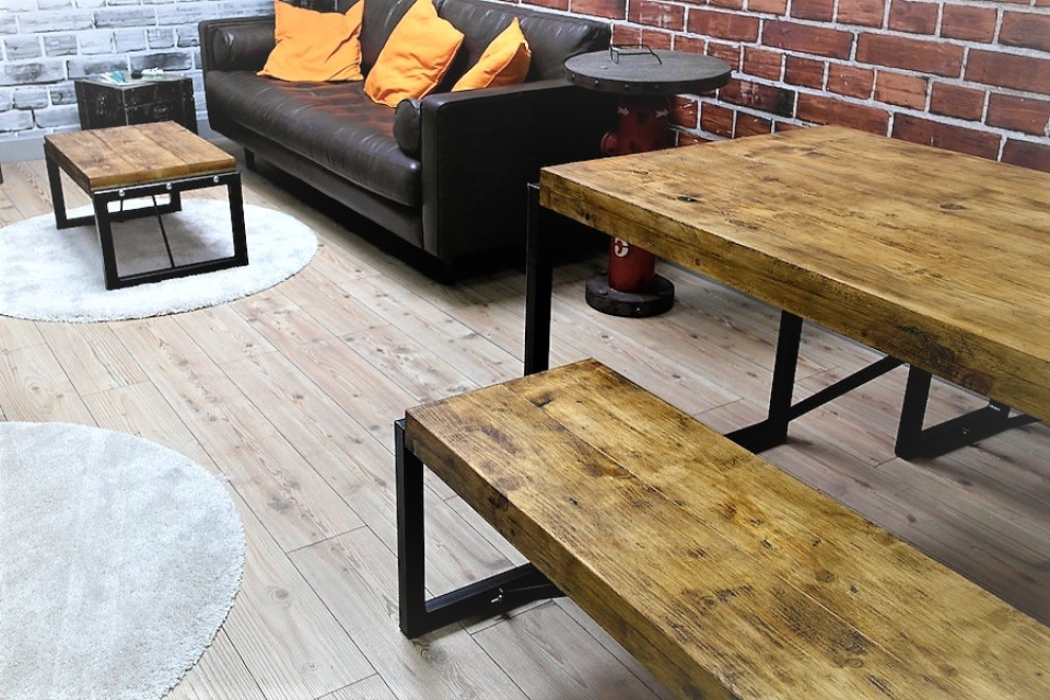 Industrial Dining Set with Steel Frames and Reclaimed Wood : s921829714726857809p102i24w640 from www.forget-me-knot.co.uk size 960 x 640 jpeg 264kB