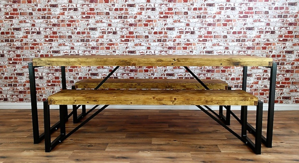 Industrial Dining Set with Steel Frames and Reclaimed Wood : s921829714726857809p102i30w640 from www.forget-me-knot.co.uk size 1168 x 640 jpeg 371kB
