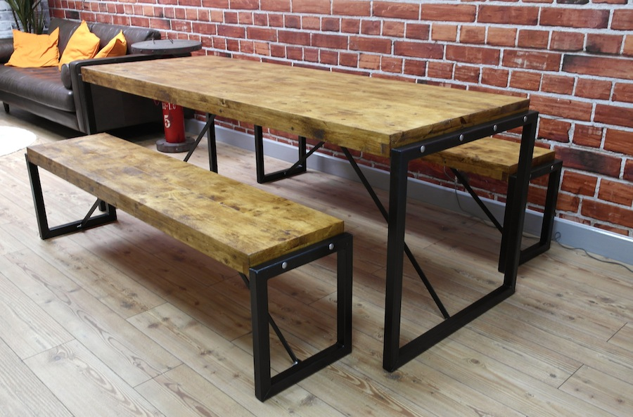 Industrial dining set with steel frames and reclaimed wood for Table and bench set