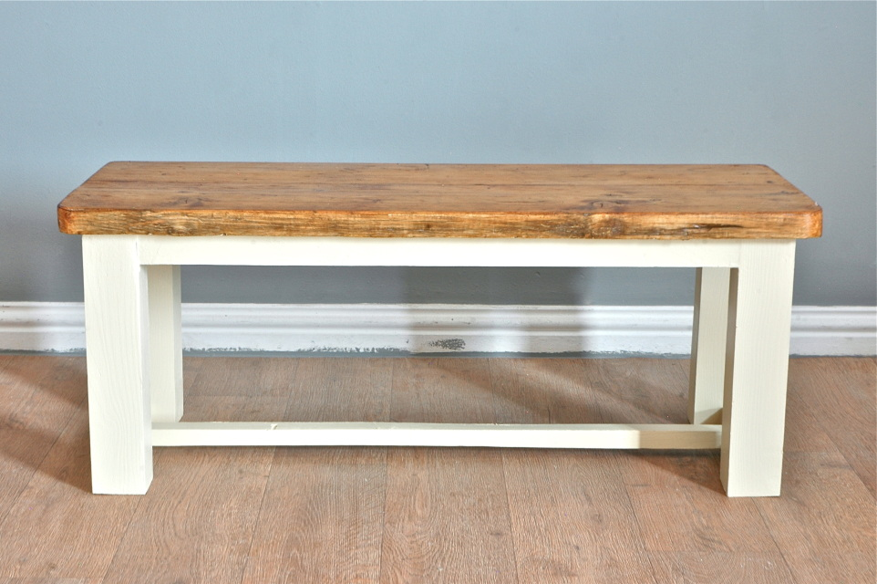Rustic Farmhouse Pine Kitchen Dining Bench Reclaimed