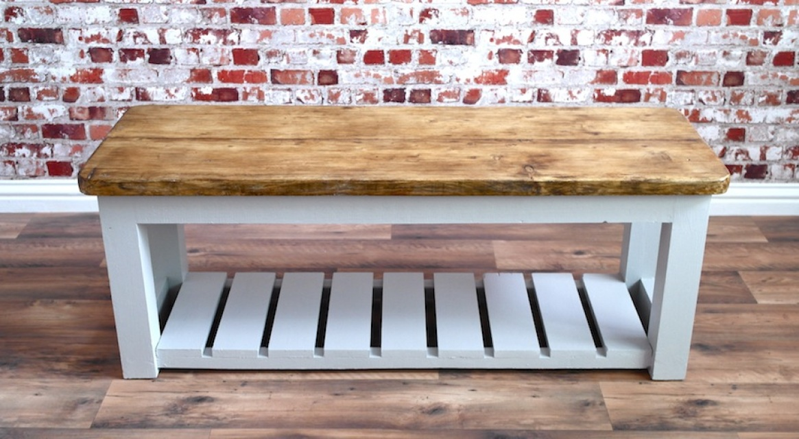 Rustic Hall Bench Shoe Storage Bench Made From Reclaimed Wood