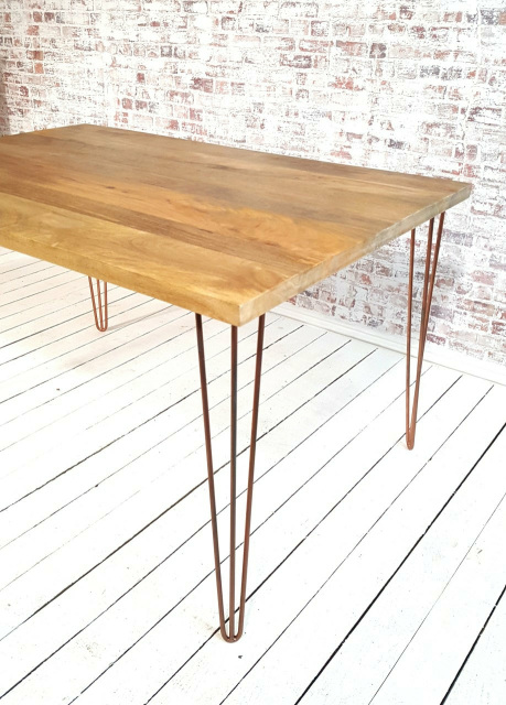 Industrial Hairpin Dining Table With Antique Copper