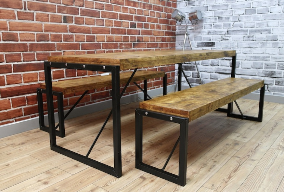 Industrial dining table with steel frames and reclaimed wood for Bench style dining set