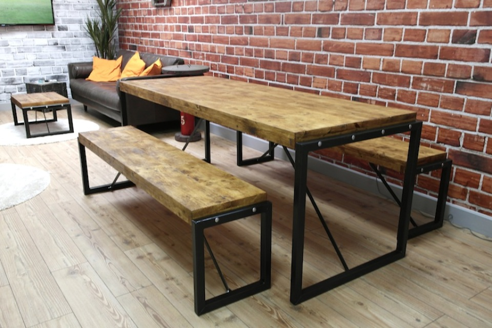 Industrial dining table with steel frames and reclaimed wood - Industrial kitchen tables ...