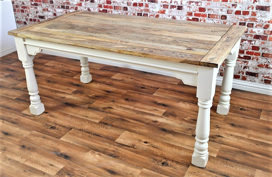 Extendable Rustic Farmhouse Dining Table Painted In Farrow