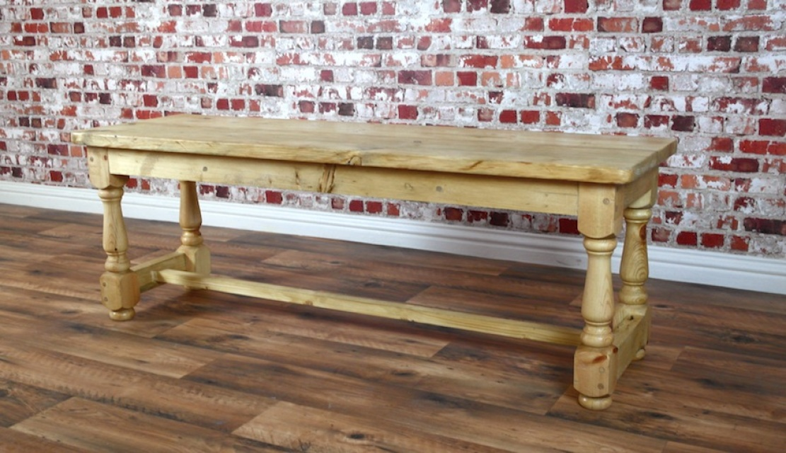 Antique Pine Rustic Kitchen Dining Bench With Turned Legs