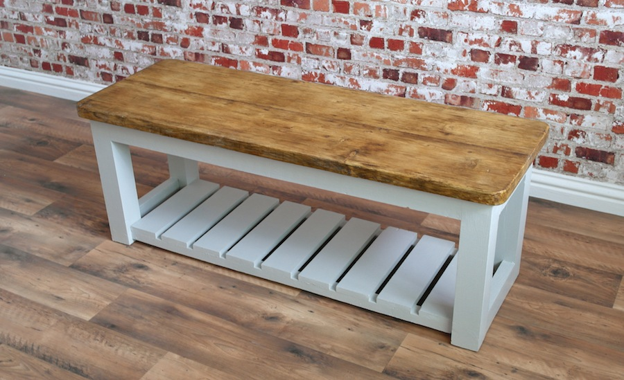 Rustic Hall Bench Shoe Storage Bench Made From Reclaimed