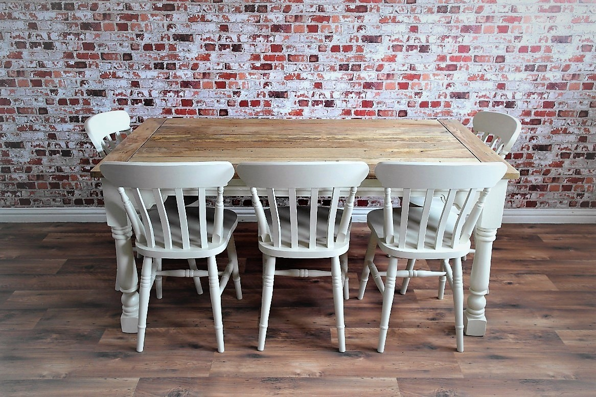 Up To Twelve Seater Rustic Farmhouse Extending Dining Table Set Painted Chairs Benches