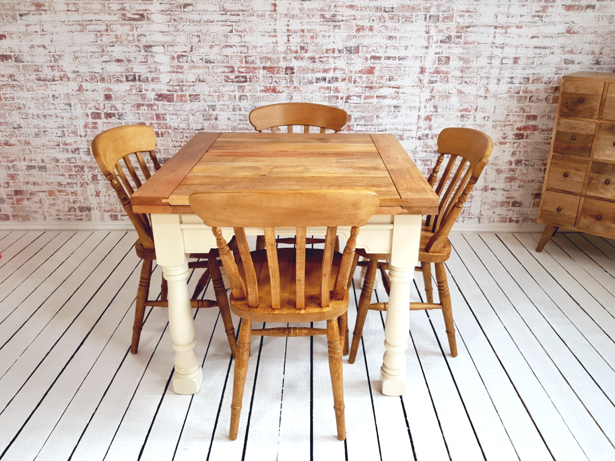 Extending Rustic Farmhouse Dining Table Set Drop Leaf Painted In Farrow Ball Folding Ergonomic Space Saving Extendable Antique Chairs
