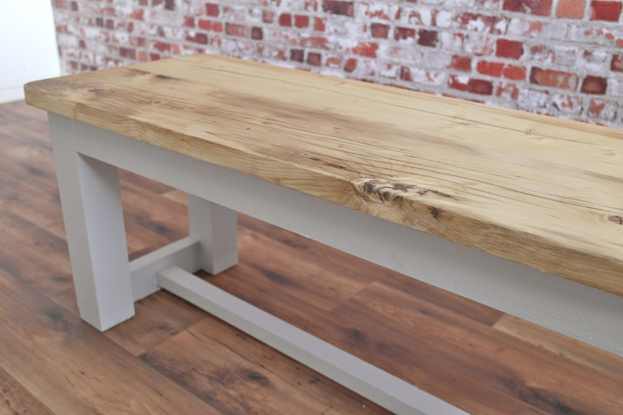 Rustic Kitchen Dining Bench Made From Reclaimed Timber