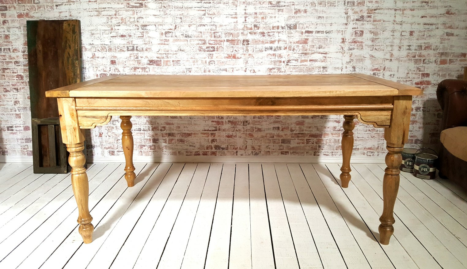 Large Rustic Extending Kitchen Dining Table Set With Turned Legs Amp Painted Chairs
